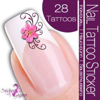 28 Stk Nail Art Tattoo Sticker Blüte Hibiskus (SG502)