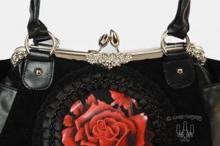 Dark romantic große Gothic Lolita Handtasche schwarz mit roter Rose
