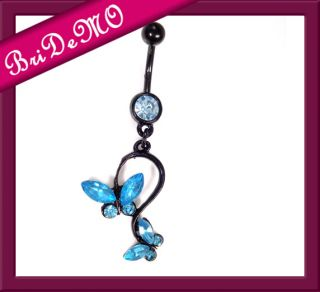 Dangle Butterfly Schmetterling Aqua Bauchnabelpiercing