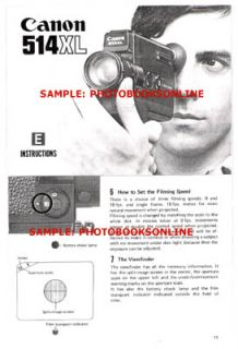 Canon 514XL Super 8 Movie Camera Instruction Manual