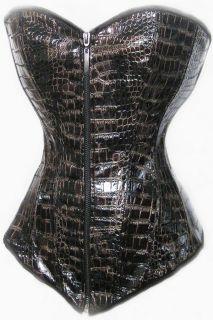 Kroko Corsage Korsett Wetlock PVC Schlangen Look Dessous #555#