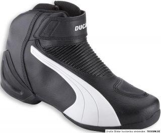 DUCATI Puma FLAT V2 BLW halbhoher Stiefel Schuhe schwarz / weiß NEU