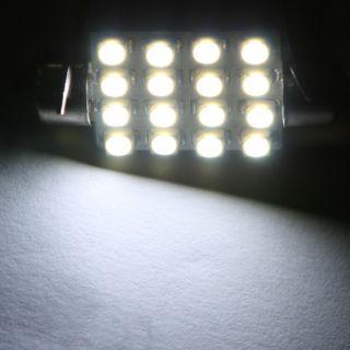 39mm 16 LED 1210 SMD Car Interior Festoon Dome Light Lamp Bulb White