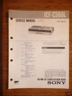 Service Manual Sony ICF C560L 3 Band Kitchen Radio ORI