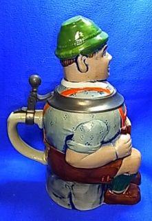 Vintage Bavarian Souvenir Tin Top Lidded Beer Stein Lederhosen Musican