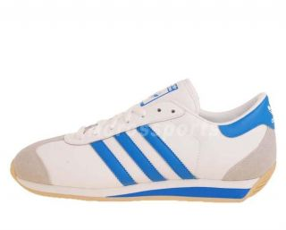 Adidas Originals Country II White Blue Retro Mens Shoes