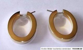 große ovale Creolen Ohrringe vierkant Profil 585 Gold 7,7 Gramm
