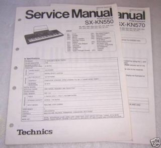 TECHNICS SX KN550 & SX KN570 KEYBOARD SERVICE MANUALS