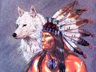 Indianer Alubild Chief and white Wolf mit Rahmen