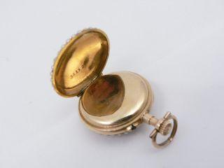 U587  Damen Taschenuhr Miniaturmalerei Portrait 585er GOLD mit Perlen