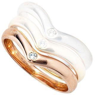 Damenring Ring mit Diamant Brillant, 585 Rotgold Gold, für Damen