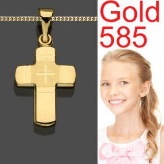 Konfirmation Damen Kreuz Anhänger GOLD 585 (14KT) & AMD Kette
