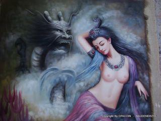 traumhaft schöne SHAKTI / Tibet Buddha Akt Gemälde 92cm