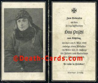 orig. STERBEBILD   DEATH CARD   JUNGER PILOT   UNGLÜCKSFALL MAI 1940
