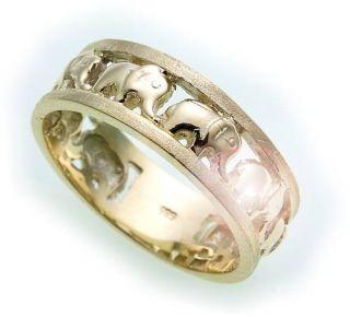 Damen Ring Elefant echt Gold 585 teilmatt