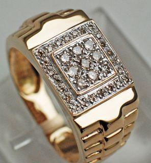 XXL Gold Ring 585 mit insgesamt 0,5 Karat Diamanten Herrenring Größe