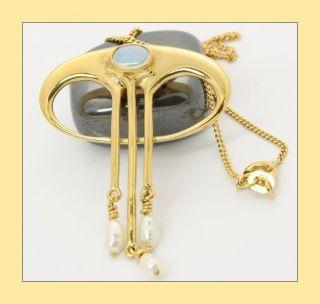 14kt 585 Damen Gold Collier Bergkristall Flussperlen Perlen Halskette