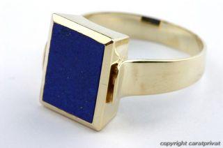 Herrenring Lapisring 14 kt. 585 Gold Ring mit Lapis