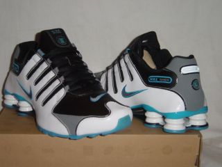 NIKE SHOX NZ EU BLACK//WHITE/COOL GREY/BLUE GLOW TRAINERS