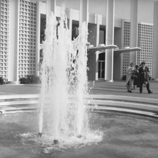Fountain at Office Building Forecourt Photographic Print by George Marks