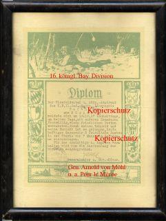 TOP Anerkennungsurkunde 1. Weltkrieg 11. Inf. Rgt. von der Tann
