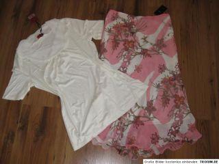 Zero Chiffon Rock Rosa Weiß + Viskose Shirt Gr. 38 NEU