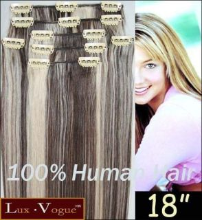 Full Head 20 REMY Human Hair Clip in Extensions #4H613