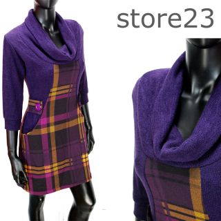 NEU Pullover Mini Kleid Lila Karo S 36 Strickkleid Pulli *c0008