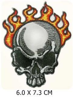 MP002 Feuer Haar Schädel Totenkopf Skull Rock PATCH