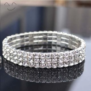 C3401 Bride 3 rows Crystal Stretch Bracelet Bangle cuff