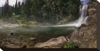 Running Eagle Falls Stretched Canvas Print by Steve Hunziker