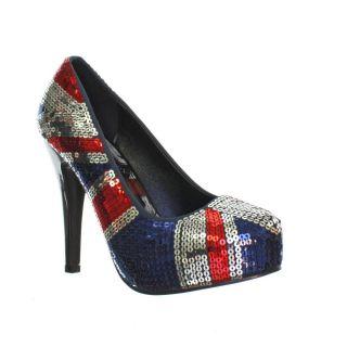 Damen Schuhe Iron Fist Union Jack Motiv Blau Pailletten Plateau Pumps
