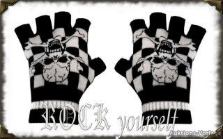 Handschuhe Fingerlinge Fingerlos Schwarz Totenkopf Skull Karo