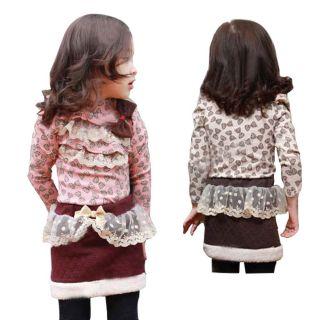 Kinder Mädchen Bow Bogen Drucken Muster Spitze Rüschen Bedruckt Hemd