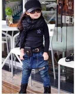 Kinder Mädchen Junge Tiefer Schritt Jeanshose Warme&Weich Fleece