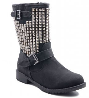 Nieten Gothic Stiefel Stiefeletten Biker Boots kunst Leder 36 37 38 39