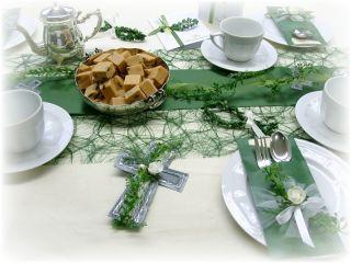 SET 20 Pers. Tischdeko Kommunion Konfirmation grün weiß