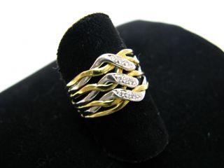 R683 750er 18kt Gelbgold Gold Weißgold Ring geflochten Zopf Muster
