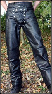 Lederhose Pouch echt Leder Hose Lederjeans black leather pants