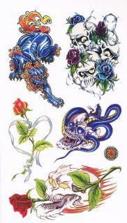 TATTOO Heft Aufkleber 5x Bogen Tattoos Skull Totenkopf