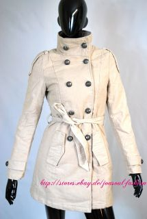 Military Trench Coat Mantel Jacke Kurzmantel Beige Grau Vintage große