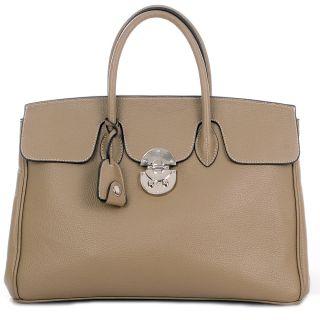 Taupe Silver JANE ICONE 40 Tote Bag Leder Tasche Damen Handtasche 699