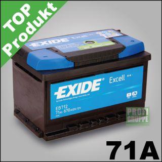 EXIDE EXCELL / 71Ah / Autobatterie / Starterbatterie / Batterie