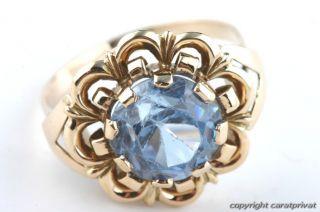 Gold Ring 585 mit blauem Stein Goldschmuck Damenring