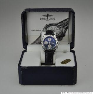 Breitling Windrider Chronomat Box und Papiere A 13047 in Stahl / Stahl