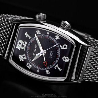 POLJOT  Signal 2612 Tonneau Wecker Russian alarm watch + milanaise