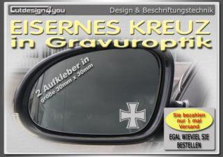 2x Iron Cross Spiegel Gravur Aufkleber VW Golf Polo