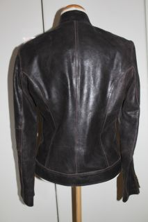 LEDERJACKE echtes Leder BIKERJACKE Gr. 36 38 Biker Jacke braun Zipper