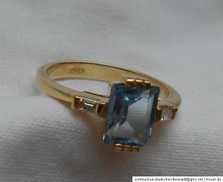 Gold Ring 750 Gold 2 Diamanten 1 Aquamarin 4,13 Gramm Gr. 55