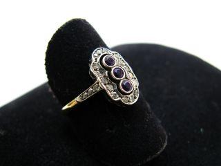 R725 750er 18kt Gelbgold Weißgold Ring bicolor antik mit Amethyst und